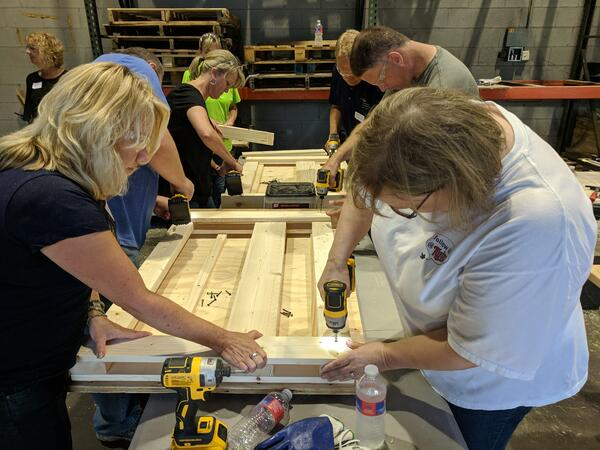 Deb and Deb Building a Bed at Northern Tool