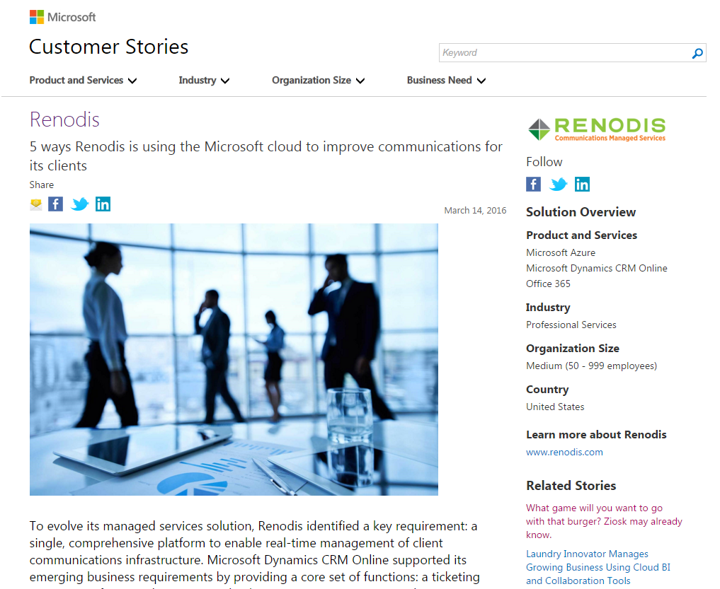 Microsoft Features Renodis Use of the Cloud to Pioneer Best-in-Class Communications Environments